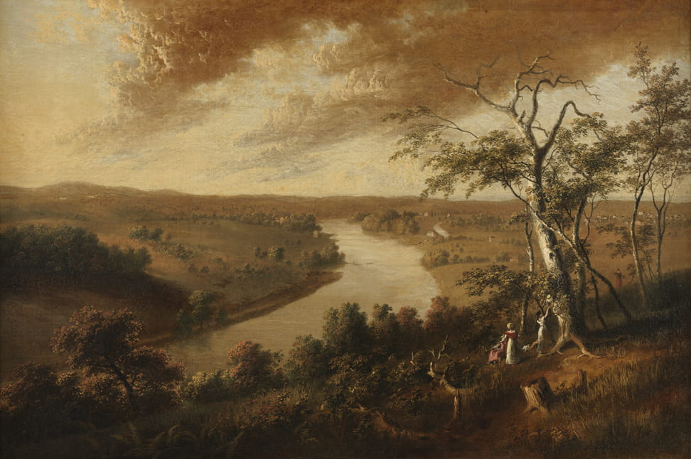 a sepia-toned oil painting of a river landscape