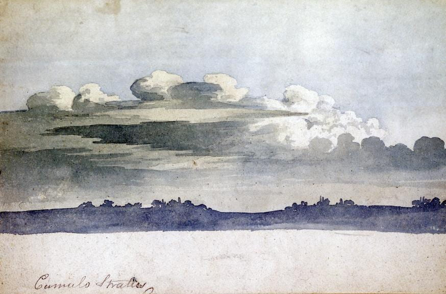 a watercolor painting of a landscape with a cloudy grey sky