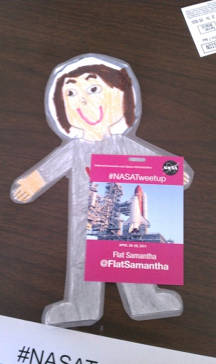 FlatSamantha STS134 NASATWeetup Badge
