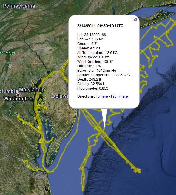 RV Hugh R Sharp Ship Track