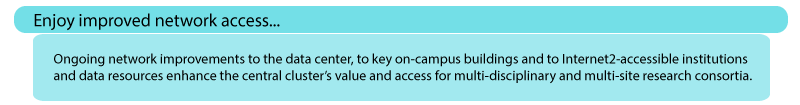 Enjoy improved network access: Ongoing network improvements to the data center, to key on-campus buildings and to Internet2-accessible institutions and data resources enhance the central cluster's value and access for multi-disciplinary and multi-site research consortia.