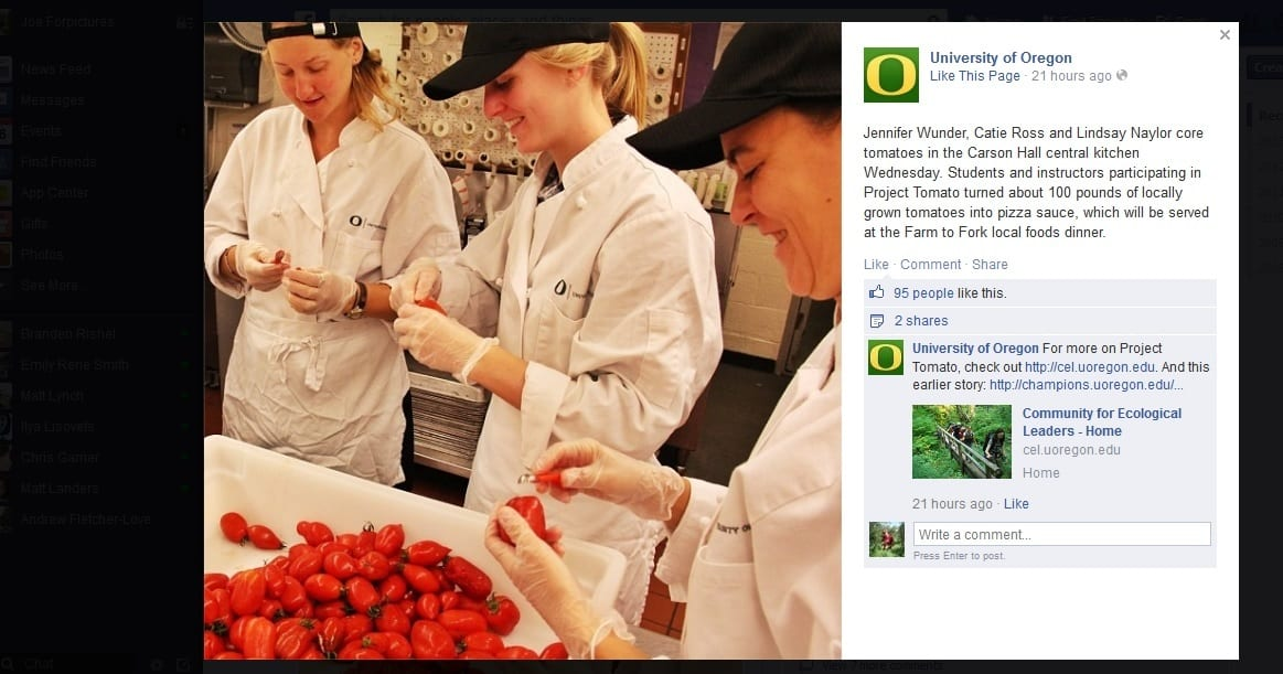 Project Tomato makes a splash on the UO FB page.