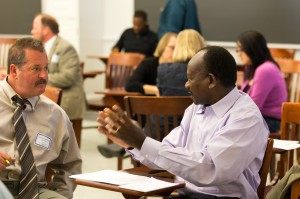 UD faculty participants engage in discussion during a First Friday Roundtable
