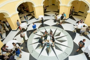 Gore Rotunda with students passing to next TA sesion