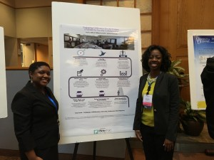 Jessica Edwards and Delice Williams with poster describing engaging difference