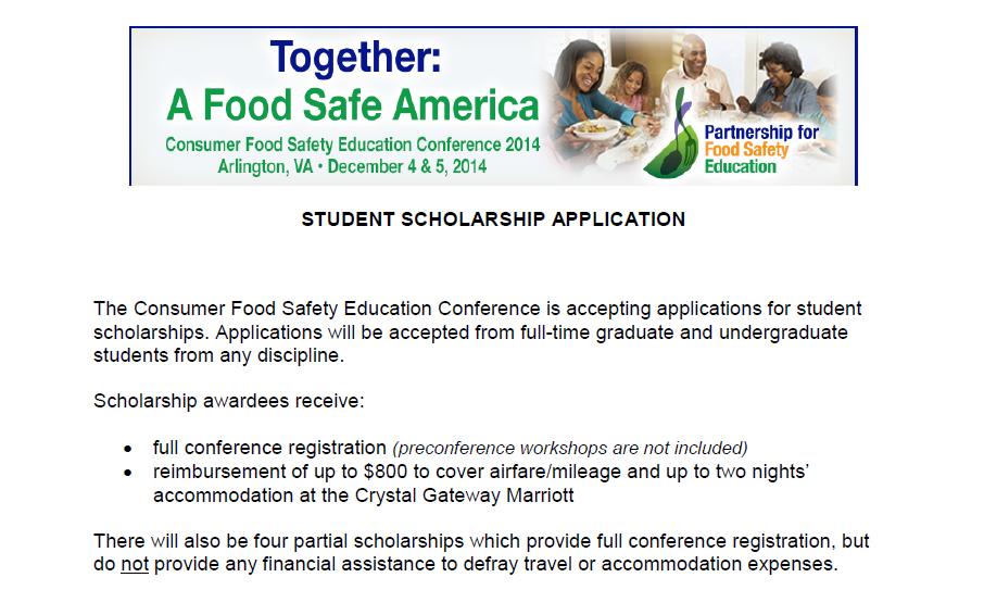 Food Safe America Conference Scholarship
