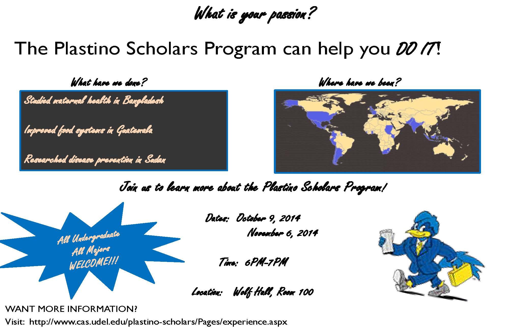 Plastino Scholars Program Flyer 2014