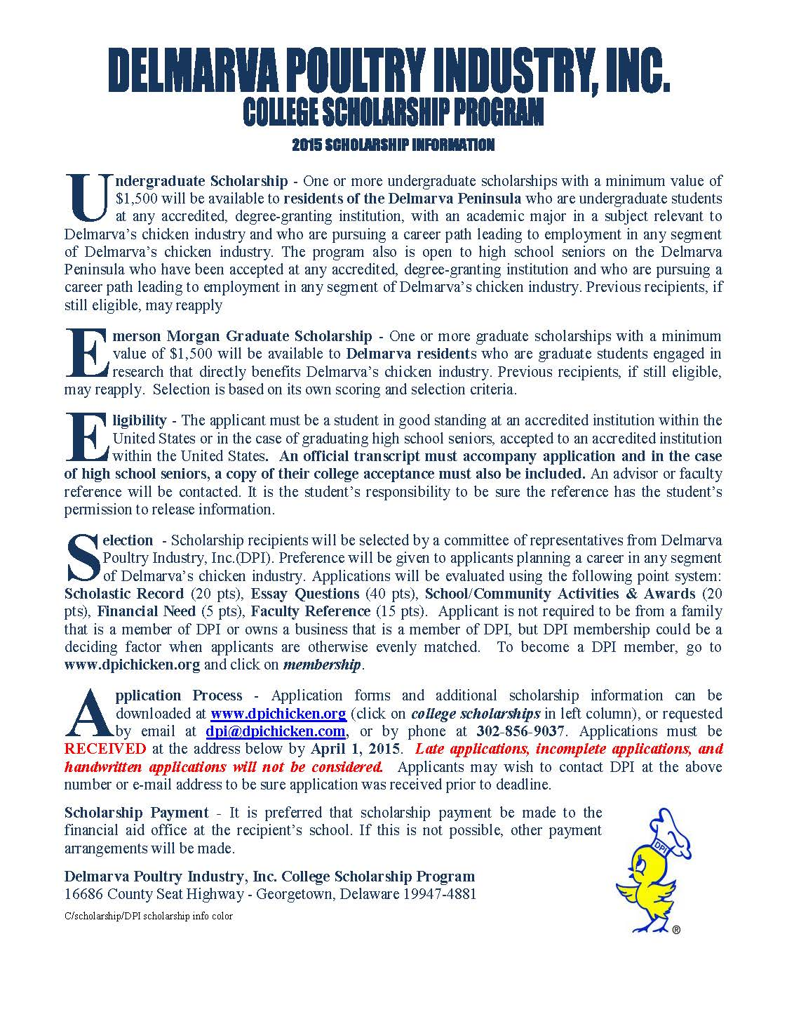 DPI scholarship info color