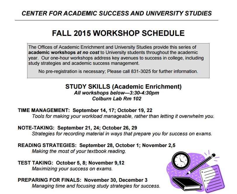 OAE Fall Workshop Schedule
