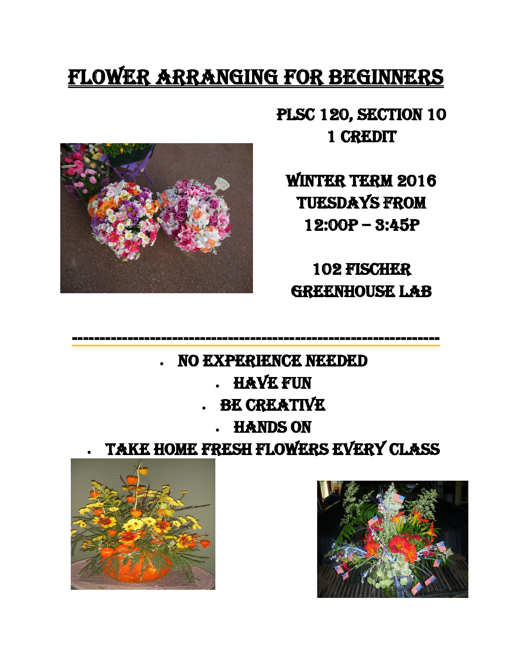 Flower arranging for beginners poster