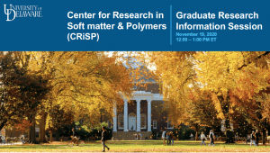 Slides for the Center for Research in Soft matter and Polymers graduate recruitment information session held on November 19, 2020