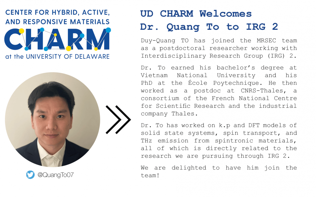 CHARM Welcomes Dr. Quang To to IRG 2