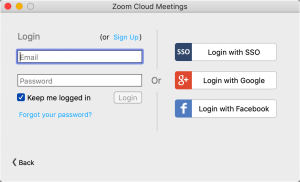 Zoom application login screen.