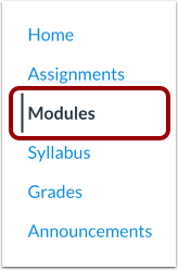Canvas Navigation Menu showing Modules highlighted