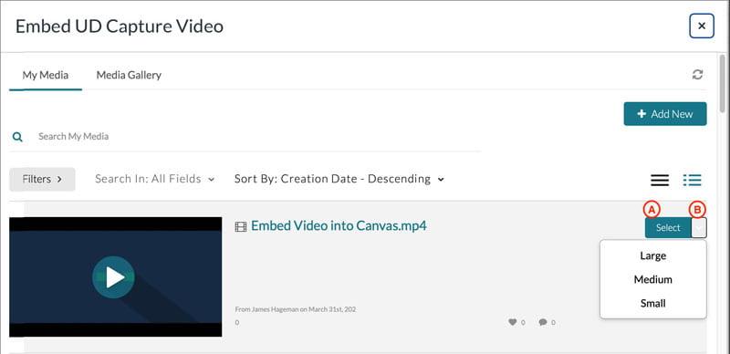 Embed UD Capture Video Popup window