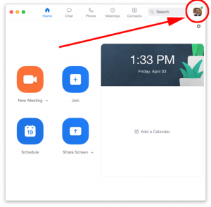 Zoom Application home screen with account link highlighted