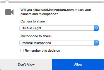 Browser prompt to select webcam, microphone, and grant permission.