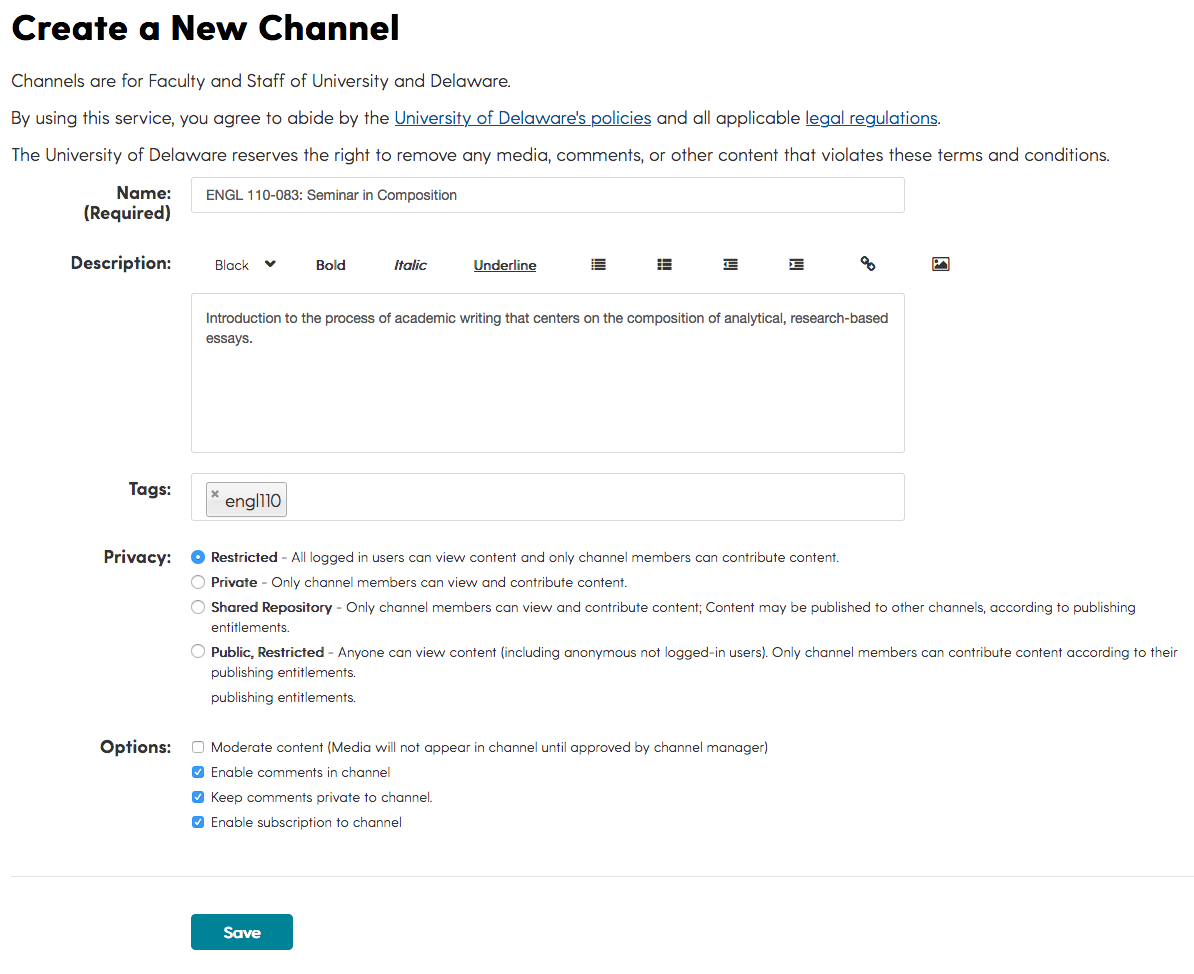 Screenshot of the Create a New Channel webform for illustration.