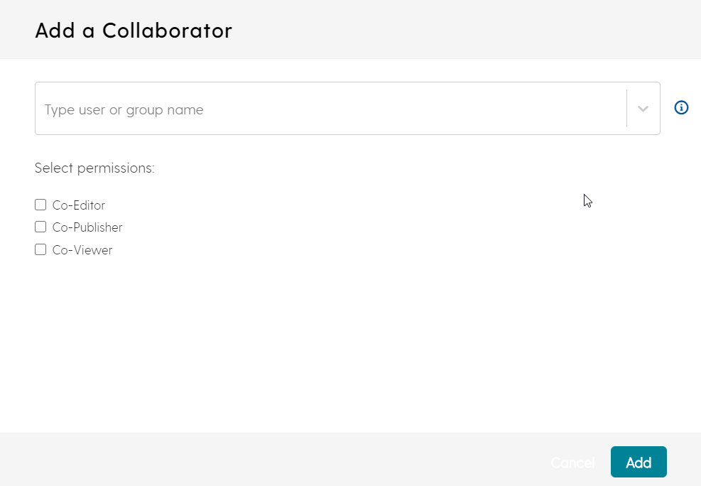 screenshot for adding a collaborator to a media file in My Media