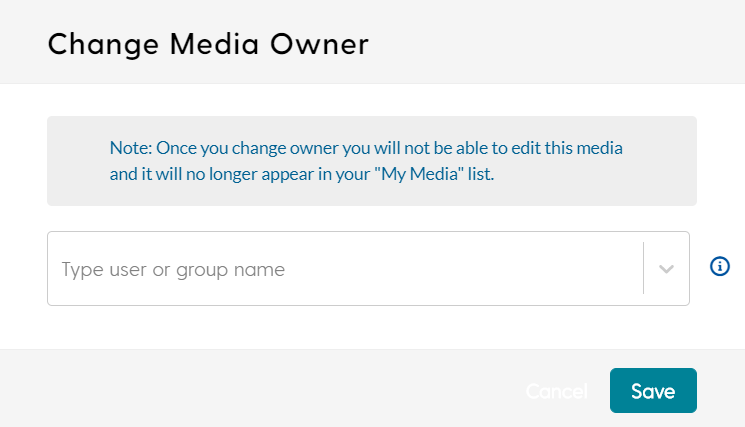 screenshot for changing a media owner in My Media