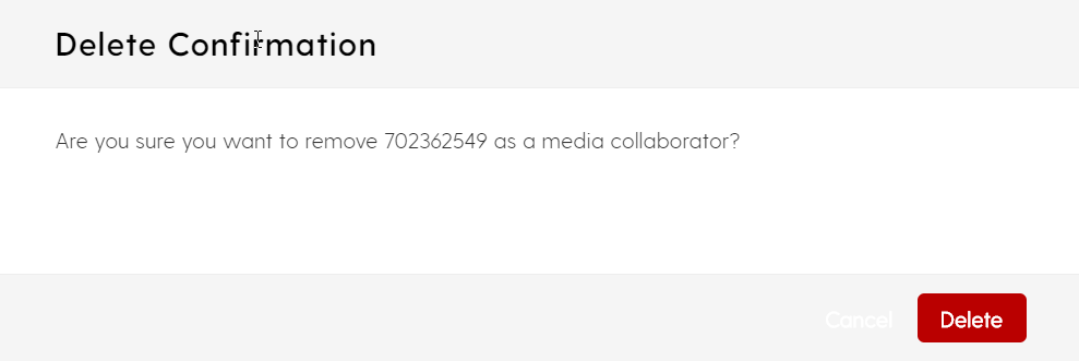 screenshot for deleting a collaborator to a media file in My Media