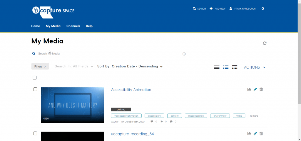 screenshot showing My Media, search and filter controls, and an example video item