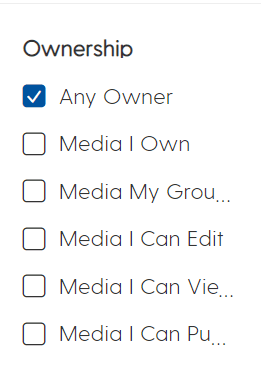 screenshot showing the ownership filters in My Media