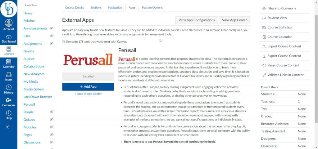 screenshot showing an overview of the Perusall app