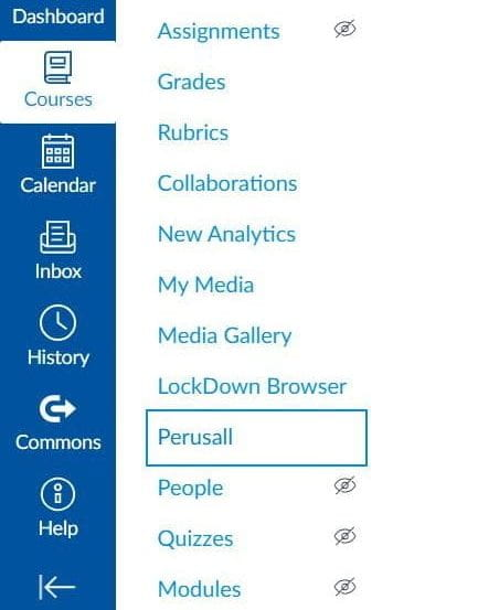 screenshot showing a Canvas course menu with Perusall