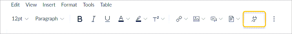Canvas editor toolbar with Apps icon