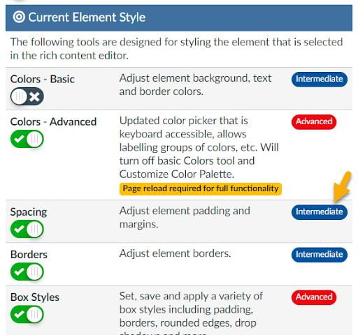 screenshot showing DesignPUS Content Editor Toolbox settings showing element styles with comfort level