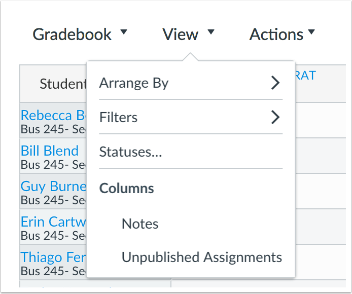 Canvas gradebook view menu options.