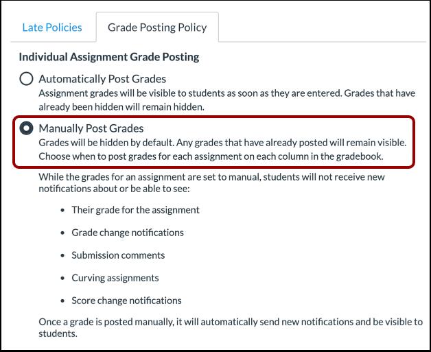 New Canvas gradebook manual posting screenshot