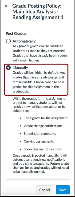 Canvas New Gradebook Posting Policy