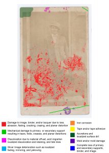 Photograph with polychrome marks to indicate deterioration