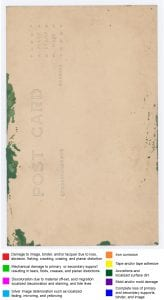 Photograph postcard back with polychrome marks to indicate deterioration