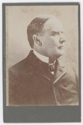 Profile photographic portrait of William McKinley