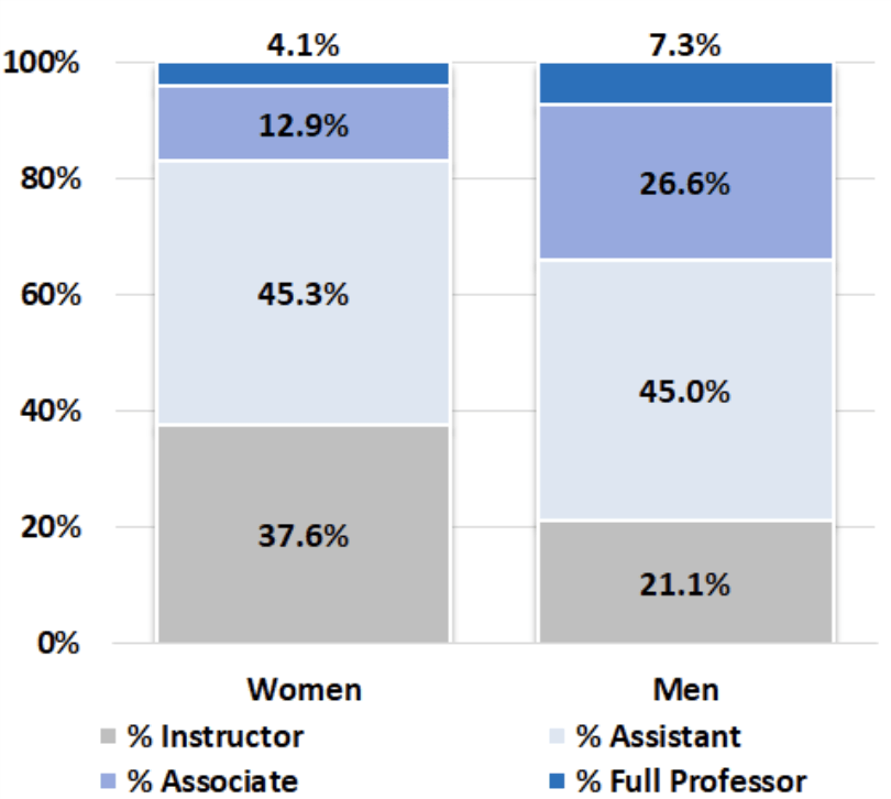 Chart showing the percentage of male and female continuing track faculty at UD as of 2017