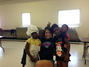 MEPI staff member with the kids