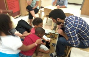 With the children at the Early Learning Center