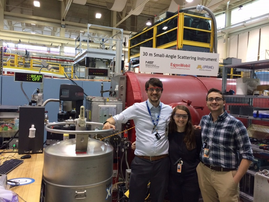 Dr Jeff Richards, NIST/UD NRC Postdoc, Ms. Julie Hipp, UD Grad student, and Dr. John Riley, UD, CNS Postdoc, perform some of the world's first simultaneous rheo-SANS-dielectric measurements on NG7 beamline at the NCNR.