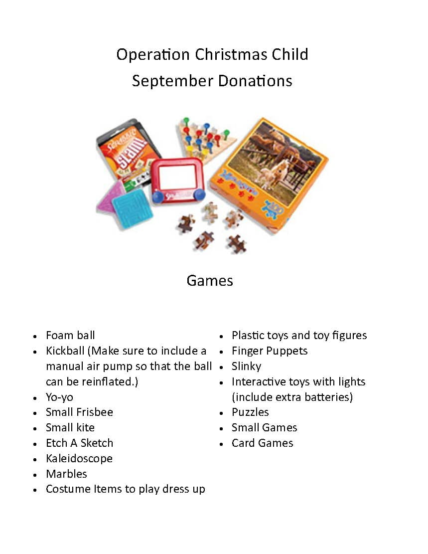 Christmas Donations 2020 Operation Christmas Child Donations: September 2020 | The Sussex