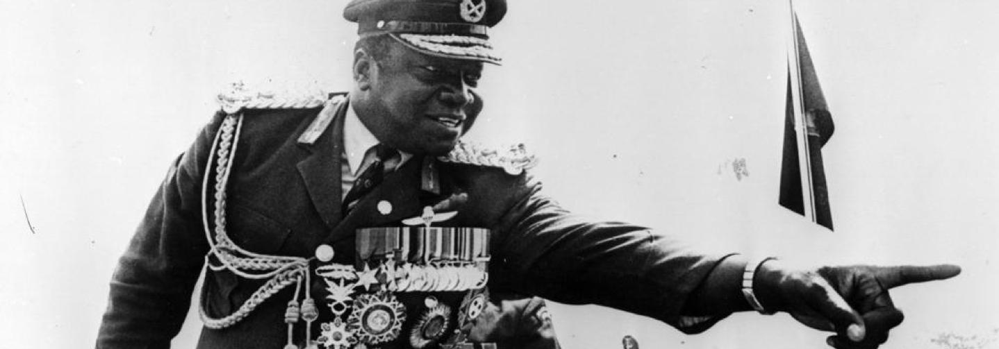 Idi Amin pictured in military garb
