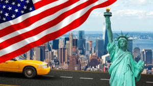 American Flag and New York Skyline