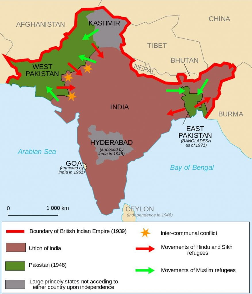 Map of India, Pakistan, Bangladesh and Kashmir territory. Shows arrows where Muslims were forced to leave India and Hindus and Sikhs were forced to leave the other territories.
