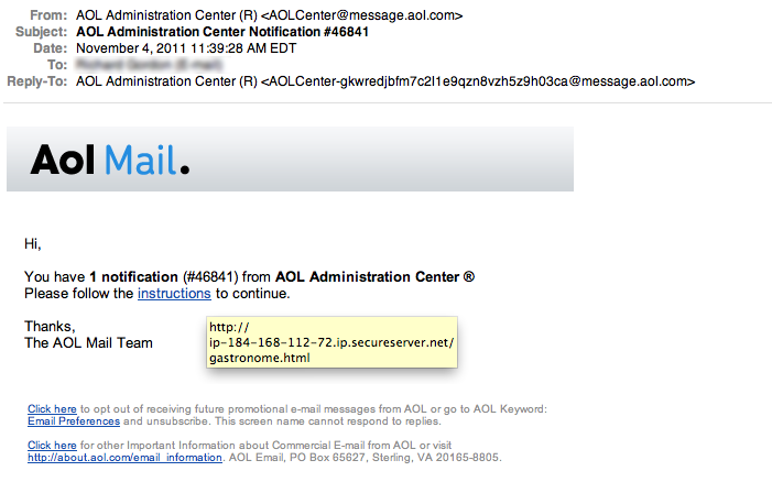 Fake aol notification secure ud threat alerts fake aol notification publicscrutiny Choice Image