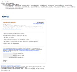 The latest fake PayPal phishing scam.
