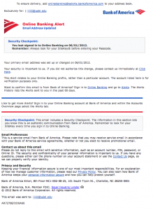 Body of phishing scam allegedly from Bank of America