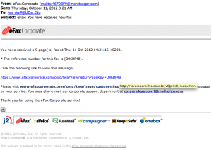 Fake eFaxCorporate phishing email