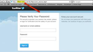 Fake twitter login page